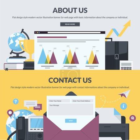 Ensemble de bannières style design plat pour les pages web avec base et contact d'informations sur la société ou individuels