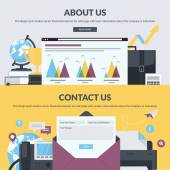Set of flat design style banners for web pages with basic and contact information about the company or individual