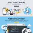Постер, плакат: Set of flat design style concepts for website design and development app development SEO mobile site development