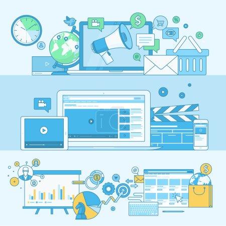 Illustration pour Concepts pour le marketing numérique, le marketing vidéo, le marketing Internet - image libre de droit