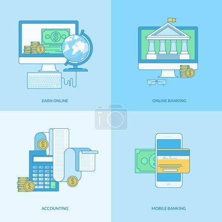 Illustration pour Icônes pour m-banking, banque en ligne, finance, comptabilité, gagner en ligne - image libre de droit