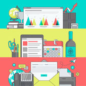Set of color line banners for web page design