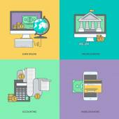 Set of color line icons on the theme of internet banking online payment
