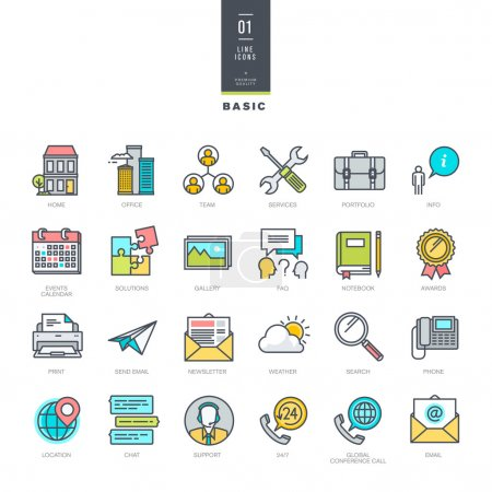 Set of line modern color icons for website design