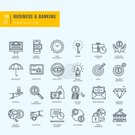 Illustration for Thin line vector icons set. - Royalty Free Image