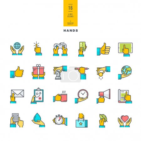 Set of line modern color icons of hand using devices, using money, in business situations, in design, ecology, marketing process.