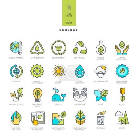 Illustration for Set of line modern color icons - Royalty Free Image