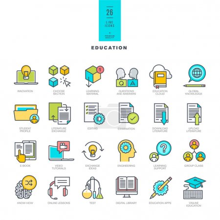 Set of line modern color icons on the theme of education