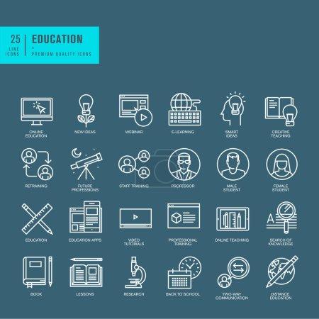 Illustration pour Ensemble d'icônes web de ligne mince - image libre de droit