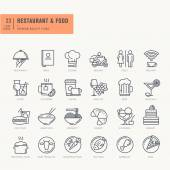 Thin line icons set Icons for food and drink restaurant cafe and bar food delivery