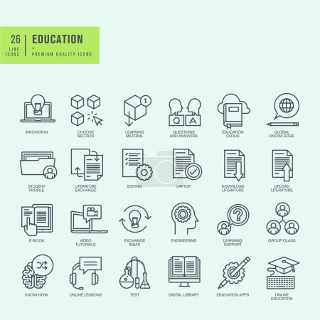 Thin line icons set. Icons for online education, ebook, education app.