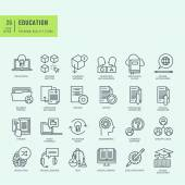 Thin line icons set Icons for online education ebook education app
