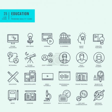Thin line icons set. Icons for online education, video tutorials, training courses.