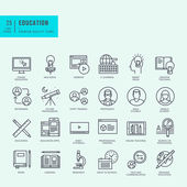 Thin line icons set Icons for online education video tutorials training courses