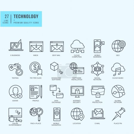 Thin line icons set. Icons for technology, e-commerce, finance, online entertainment, navigation, cloud computing, internet protection, business, app, social media.