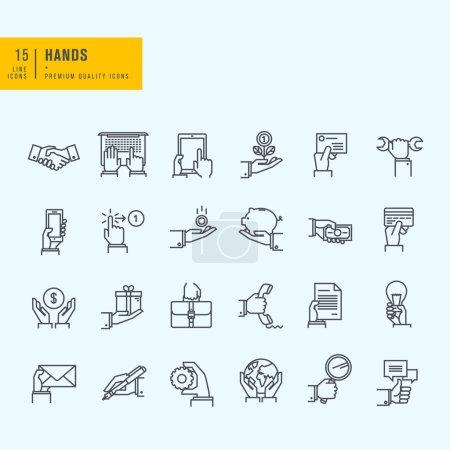 Illustration pour Ensemble d'icônes fine ligne - image libre de droit