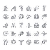 Thin line icons set Icons for business insurance strategy planning analytics communication