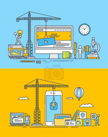 Set of thin line flat design concepts of web and mobile sites and apps design and development