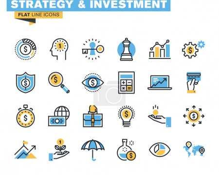 Illustration for Icons for strategy, investment, finance, banking, insurance, funding and payment, for websites and mobile websites and apps. - Royalty Free Image