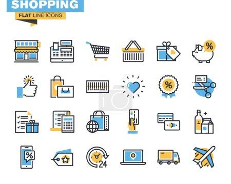 Illustration pour Icônes pour le shopping, le commerce électronique, le m-commerce, la livraison, pour les sites Web et les sites Web et applications mobiles . - image libre de droit