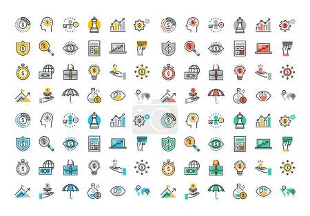 Illustration pour Icônes colorées fixes collection de stratégie d'entreprise, croissance de l'argent, planification financière, portefeuille d'investissement, financement participatif, analyse de données de marché, assurance . - image libre de droit