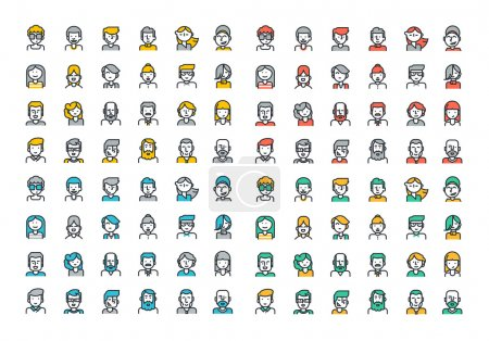 Photo for Flat line colorful icons collection of people avatars for profile page, social network, social media, different age man and woman characters, professional human occupation, portfolio. - Royalty Free Image