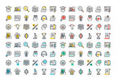 Flat line colorful icons collection of e-learni