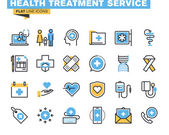 Flat line icons set of online medical support family health care health insurance pharmacy medical services