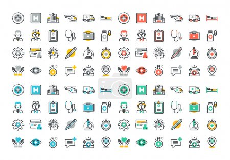 Illustration for Flat line colorful icons set of healthcare and medicine, medical services and support, health care facility, emergency medical services, transport of patients, diagnosis, treatment and laboratory. - Royalty Free Image