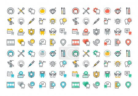 Flat line colorful icons collection of dental services