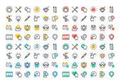 Rovná čára barevné ikony kolekce stomatologické služby