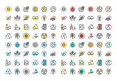 Flat line colorful icons collection of recycling waste management  green energy biodegradable materials environmental protection raising awareness of nature protection