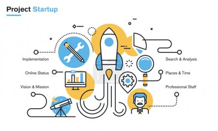 Flat line design illustration of project startup process, new products and services development from idea to implementation.