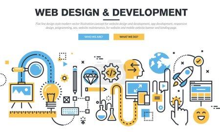 Flat line design vector illustration concept for website design and development