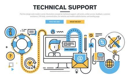 Flat line design vector illustration concept for technical support