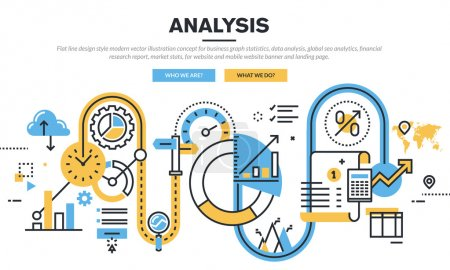 Illustration for Flat line design vector illustration concept for business graph statistics, data analysis, global seo analytics, financial research report, market stats, for website banner and landing page. - Royalty Free Image
