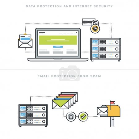 Flat line design vector illustration concepts for data protection and internet security, online safety, email protection from spam, email security software, for website banner and landing page.