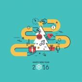 Koncepce designu novoroční rovná čára