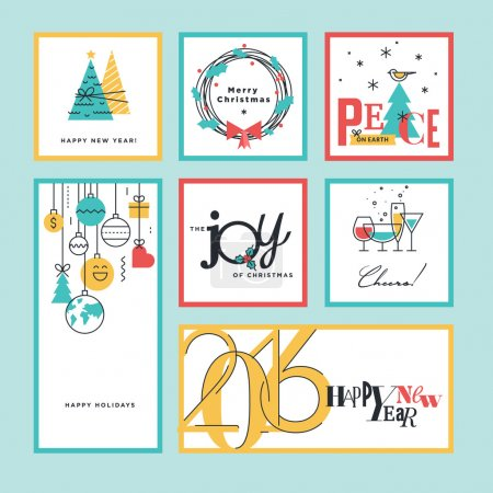 Set of flat line design Christmas and New Year greeting cards and banners.