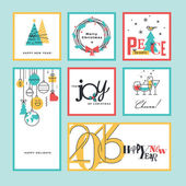 Set of flat line design Christmas and New Year greeting cards and banners