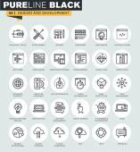 Set of thin line web icons of web design and development