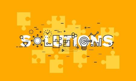Illustration pour Bannière de conception plate mince de ligne des solutions d'affaires. Concept moderne d'illustration vectorielle de solutions de mot pour des bannières de site Web et mobiles de site Web, facile à modifier, personnaliser et redimensionner. - image libre de droit