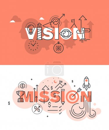 Illustration for Set of modern vector illustration concepts of words vision and mission. Thin line flat design banners for website and mobile website, easy to use and highly customizable. - Royalty Free Image