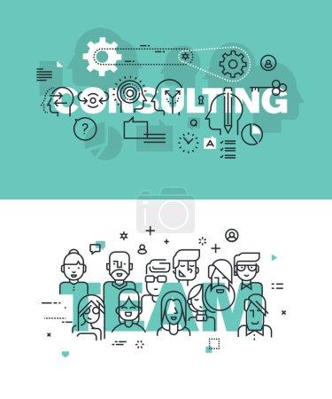 Photo pour Ensemble de concepts modernes d'illustration vectorielle de conseils de mots et d'équipe. Bannières plates de conception de ligne mince pour le site Web et le site Web mobile, faciles à utiliser et hautement personnalisables . - image libre de droit