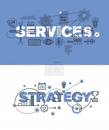 Set of modern vector illustration concepts of words services and strategy