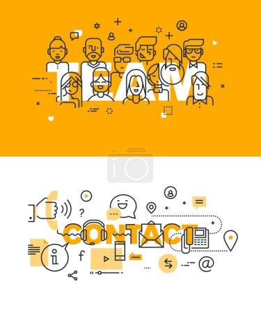 Illustration pour Ensemble de concepts modernes d'illustration vectorielle des mots équipe et contact. Bannières plates de conception de ligne mince pour le site Web et le site Web mobile, faciles à utiliser et hautement personnalisables . - image libre de droit