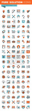 Illustration for Set of thin line web icons for graphic and web design and development. Modern vector logo pictogram and infographic design elements collection. Outline icon collection for website and app design. - Royalty Free Image