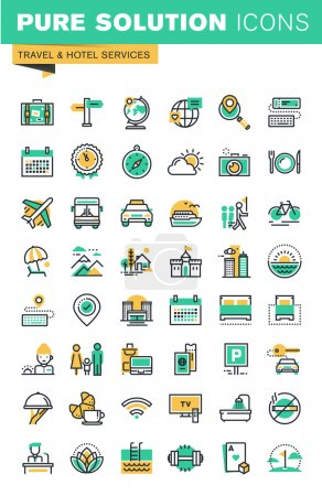 Modern thin line icons set of holidays offer, information about destinations, types of transport, hotel facilities