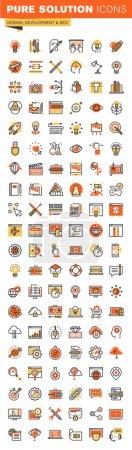 Illustration pour Conception et développement ligne mince conception plate web icônes collection. Icônes pour la conception web et app, facile à utiliser et hautement personnalisable . - image libre de droit