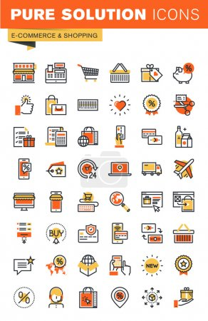 Illustration for E-commerce thin line flat design web icons collection. Icons for web and app design, easy to use and highly customizable. - Royalty Free Image